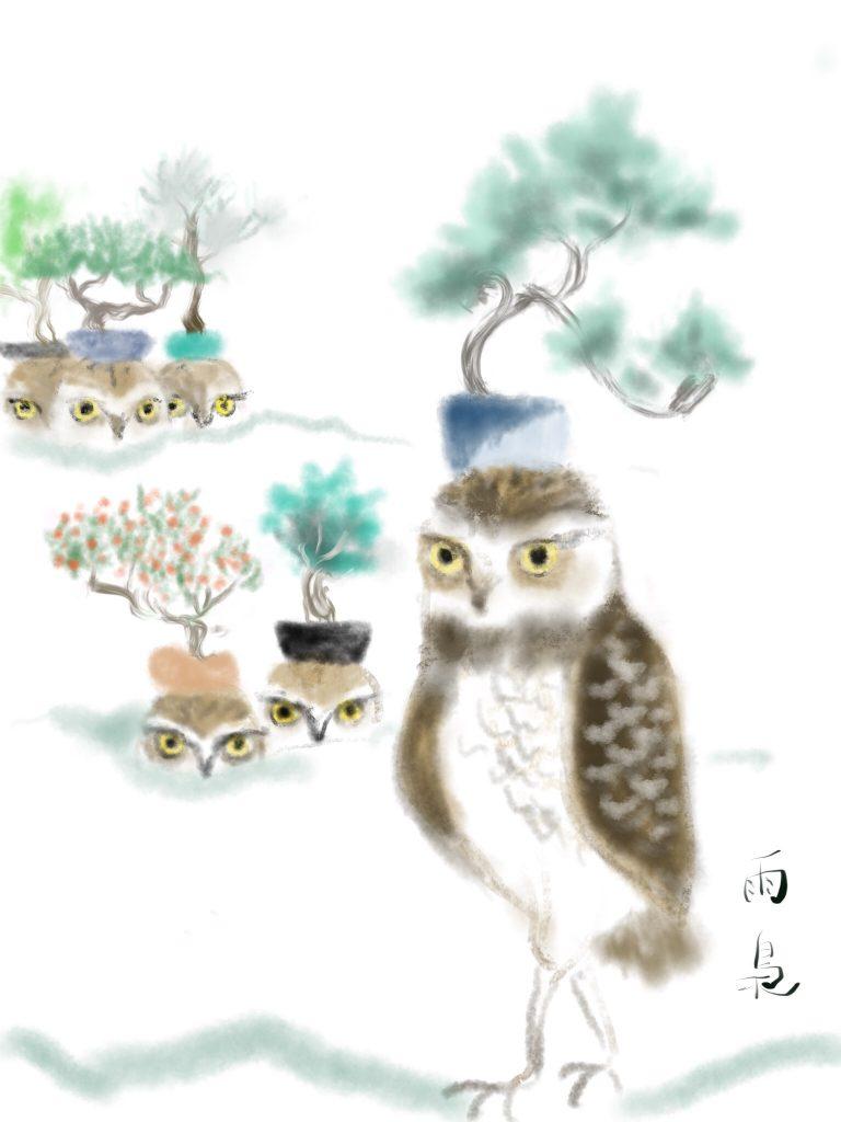 アナホリフクロウと盆栽3 illustration by Ukyo SAITO ©斎藤雨梟